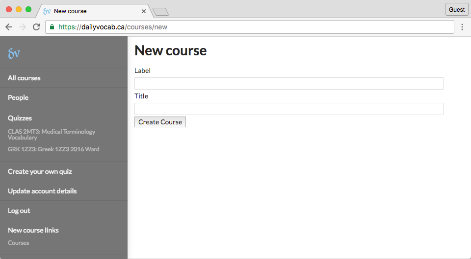 screenshot of new course page