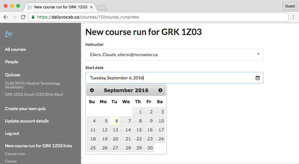 screenshot of new course run page