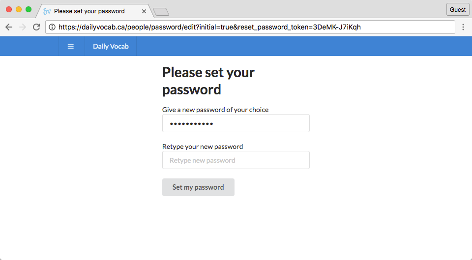 screenshot of set-password page