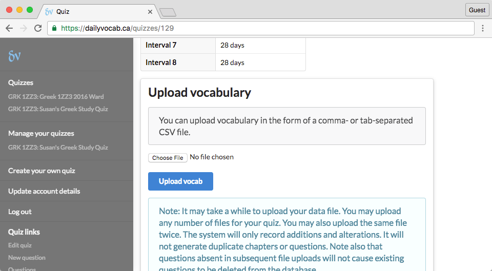 screenshot of upload vocab segment of word list page